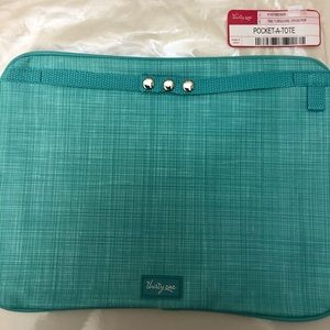 """Thirty One Pocket A Tote """"Turquoise Cross POP"""" NIP"""